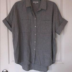 Madewell gray button up short sleeve top sz M